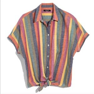 NWOT // MADEWELL Tie Front Shirt in rainbow stripe